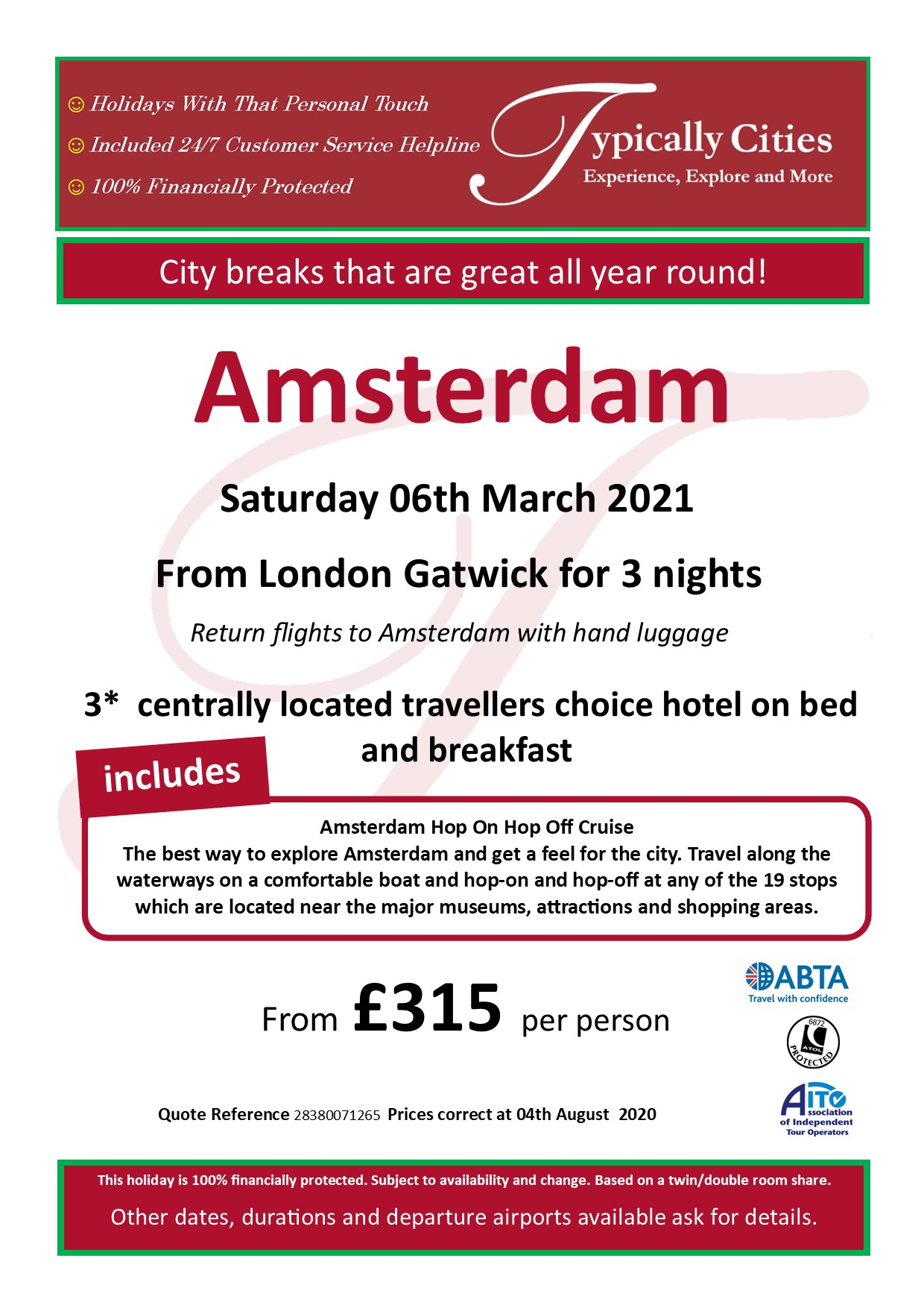 Typically Holidays Amsterdam Offer