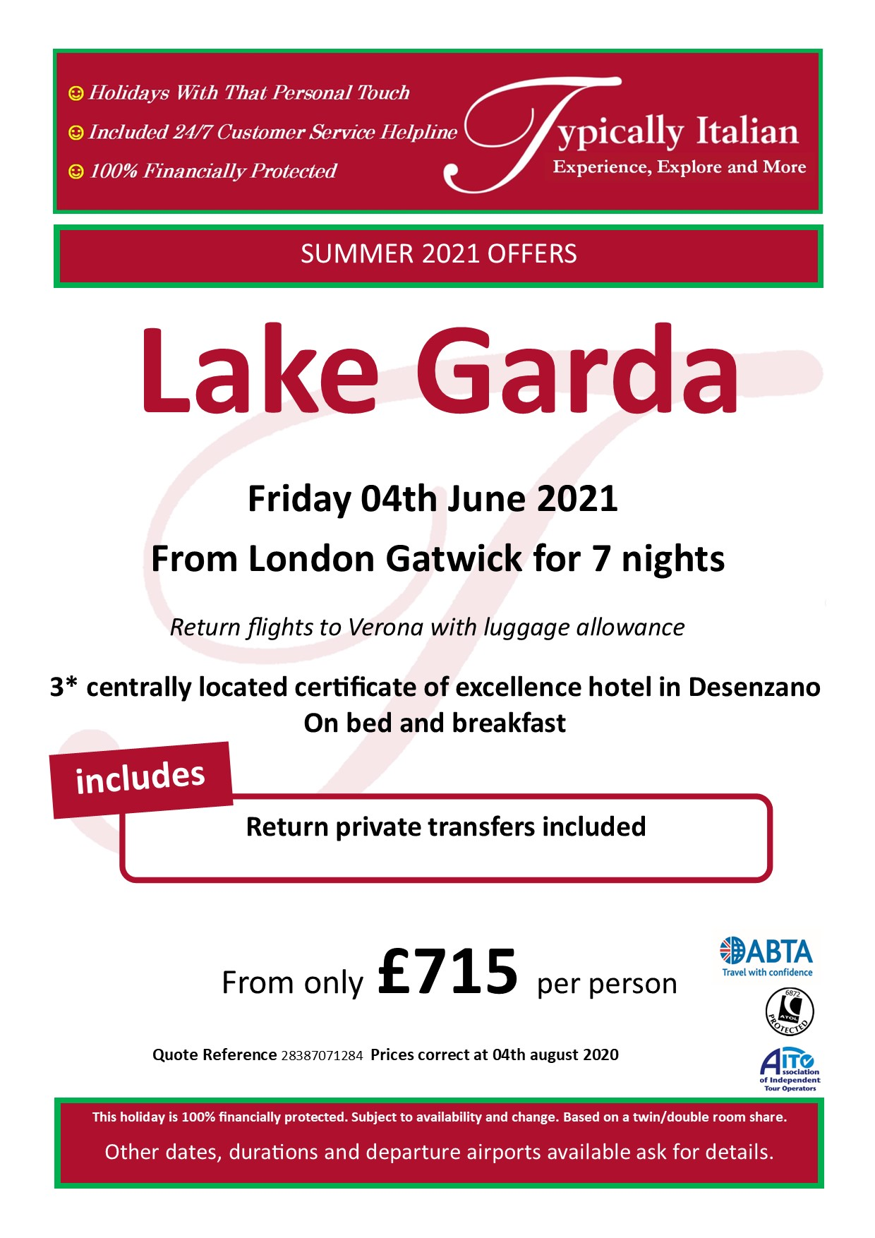Typically Holidays Lake Garda Offer