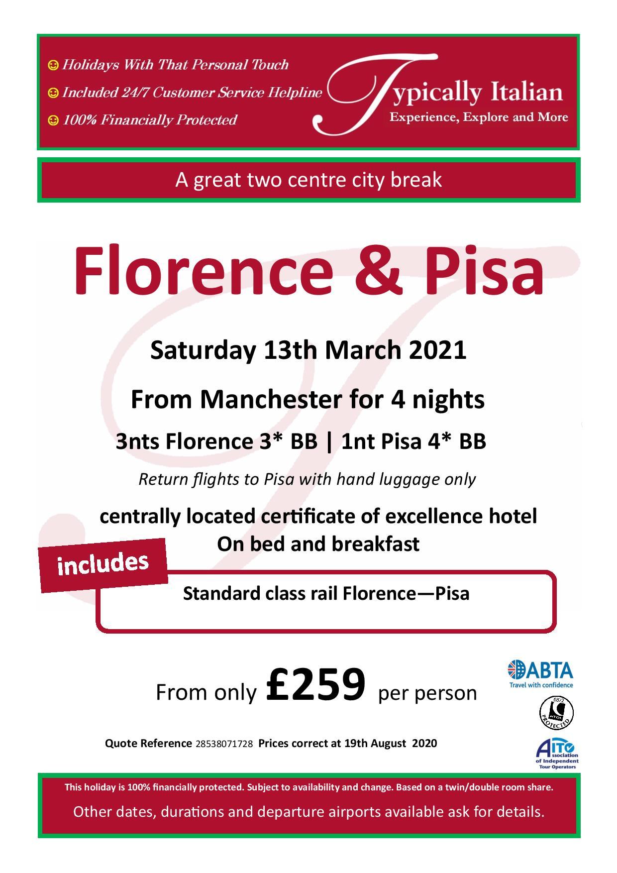 Florence & Pisa Manchester 13March 2021